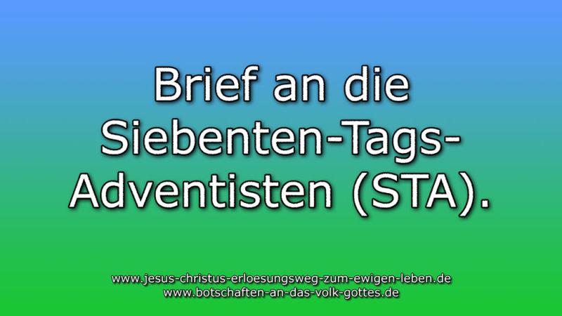 Brief an die Siebenten-Tags-Adventisten (STA).